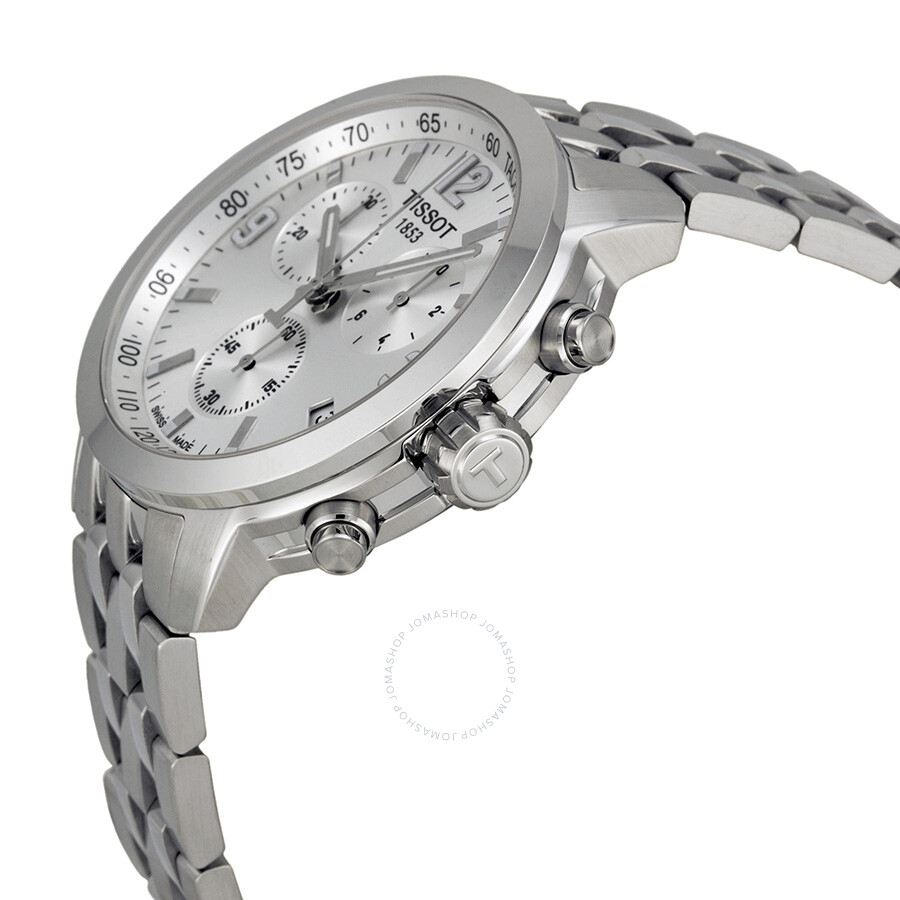 c23a218ee80 ... Tissot PRC 200 Chronograph Silver Dial Stainless Steel Men's Watch  T0554171103700 ...