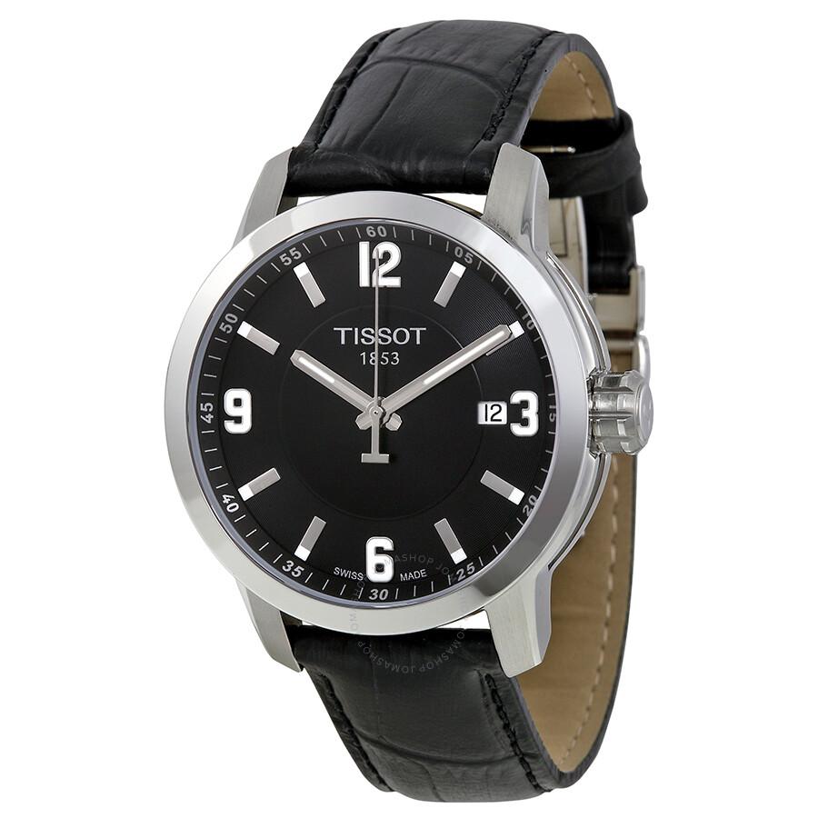tissot prc 200 quartz black black leather sport s