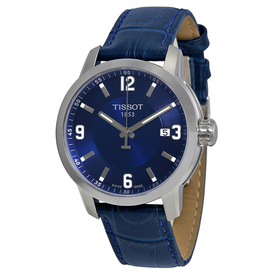 a780df7b83a Tissot PRC 200 Quartz Blue Dial Blue Leather Sport Men s Watch