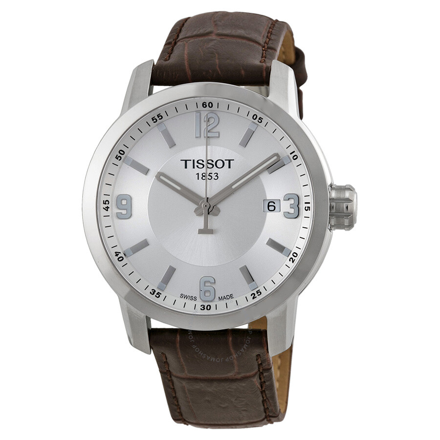 9c10d7f6a37 Tissot PRC 200 Quartz Silver Dial Brown Leather Sport Men s Watch  T0554101603700 ...