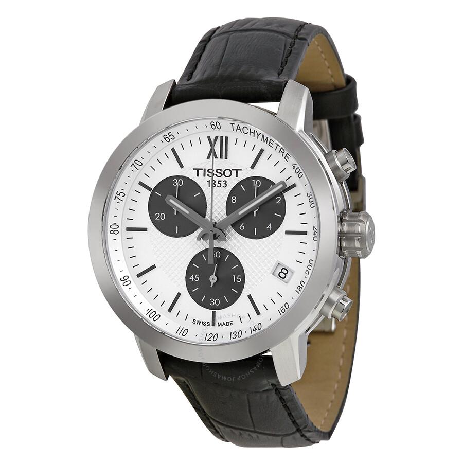 Tissot Prc200 Chronograph White Dial Black Leather Men S