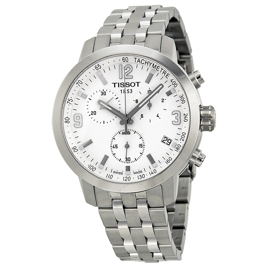 0a672e3a32d Tissot PRC200 Chronograph White Dial Stainless Steel Men's Watch  T0554171101700 ...