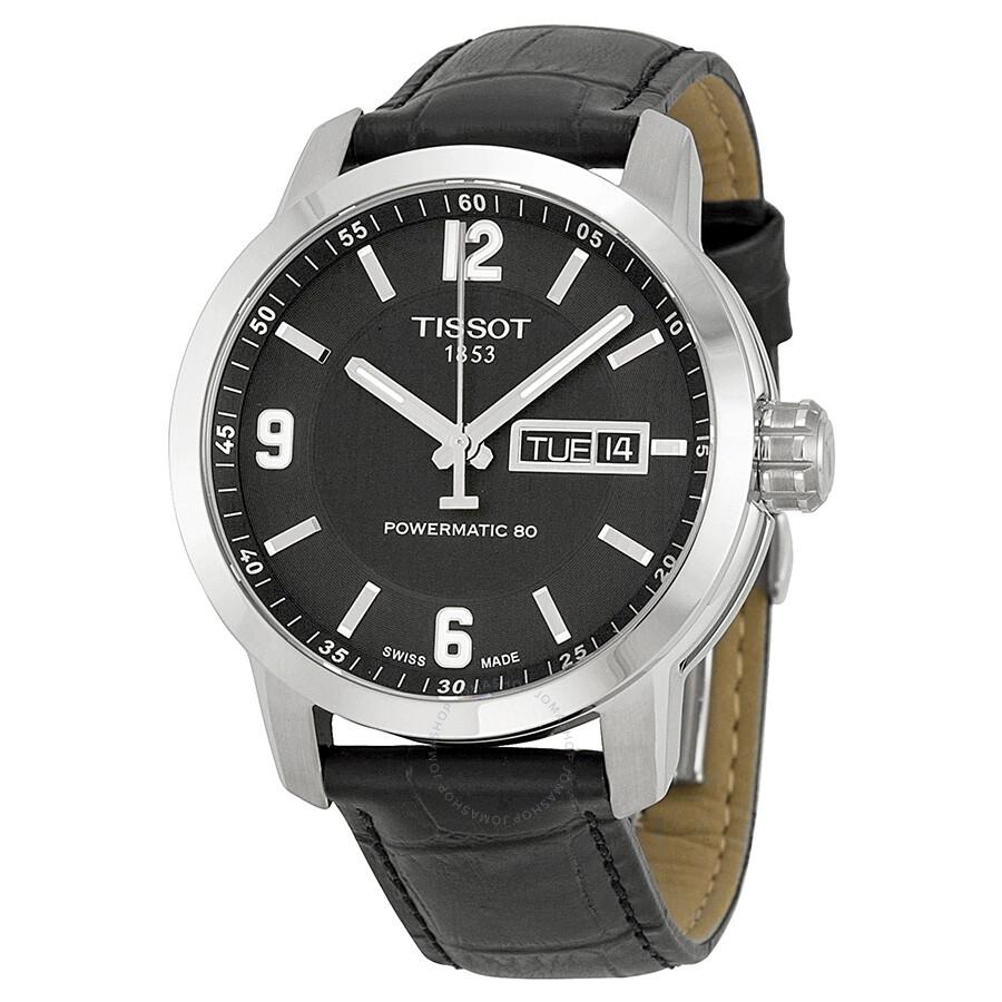 01804aa03 Tissot PRC200 Powermatic 80 Automatic Black Dial Black Leather Men's Watch