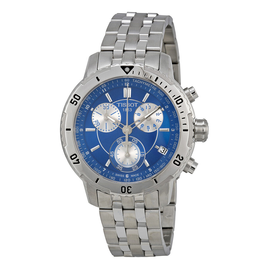 tissot prs 200 chronograph blue dial quartz sport men 39 s. Black Bedroom Furniture Sets. Home Design Ideas