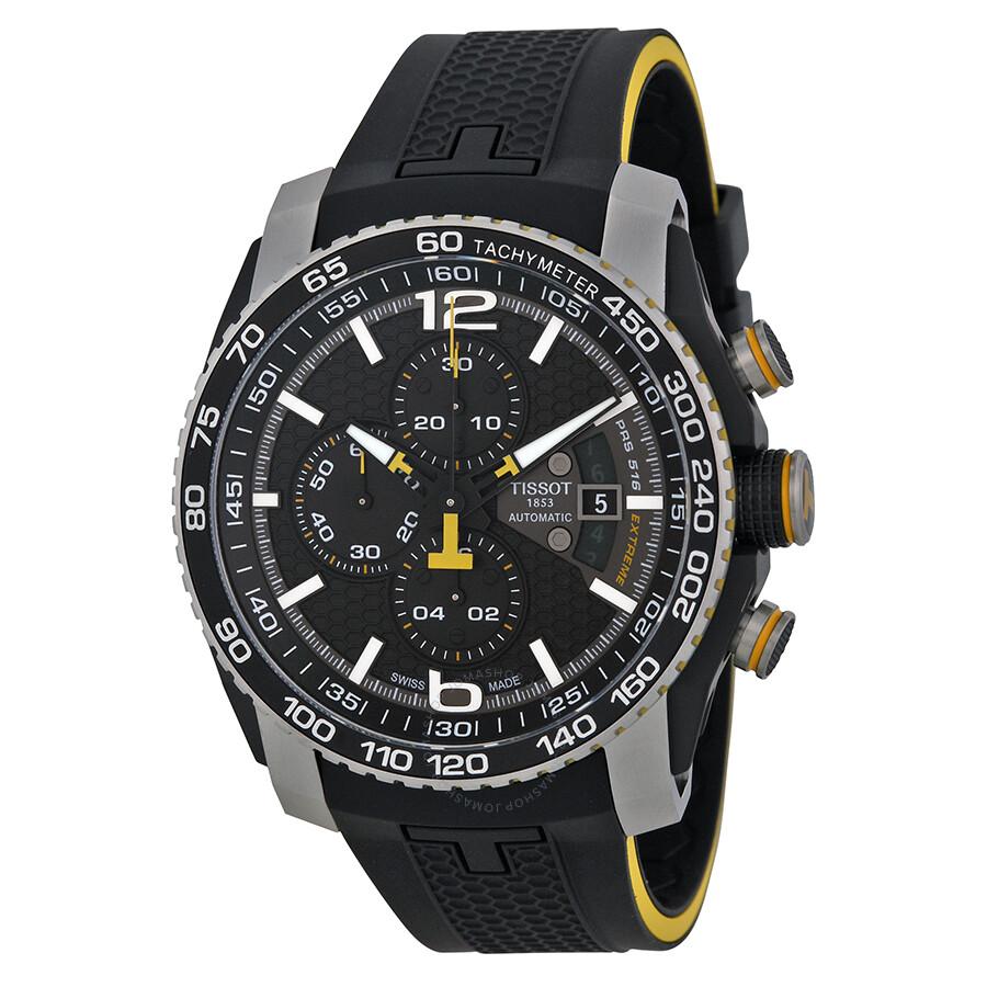 tissot prs 516 automatic chronograph black dial black. Black Bedroom Furniture Sets. Home Design Ideas