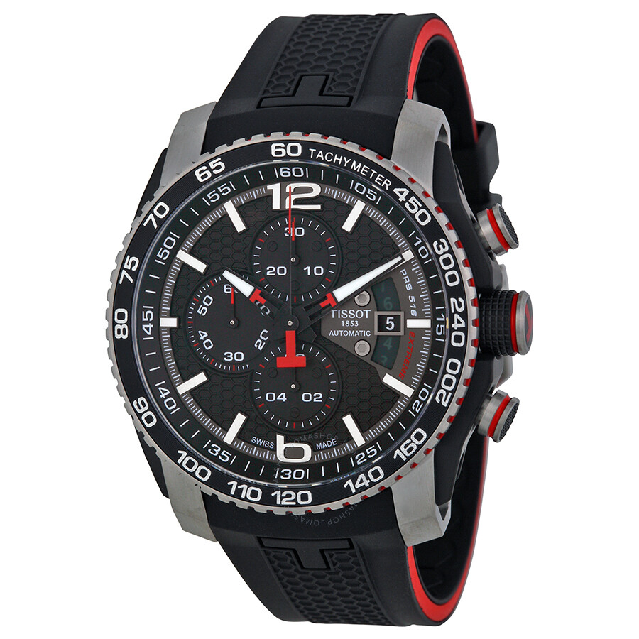 tissot prs 516 black dial chronograph men s watch