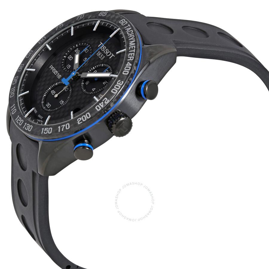Tissot Prs 516 Chronograph Black Carbon Dial Men S Watch