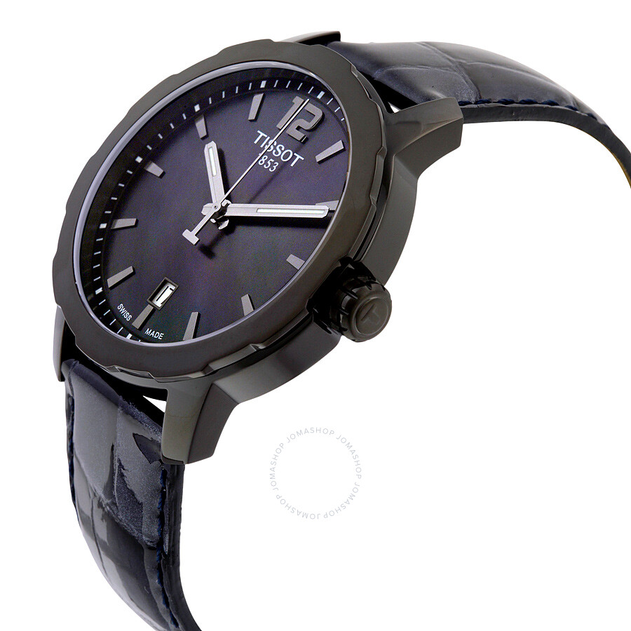 Tissot quickster black mother of pearl dial anthracite leather unisex watch t0954103612700 for Mother of pearl dial watch