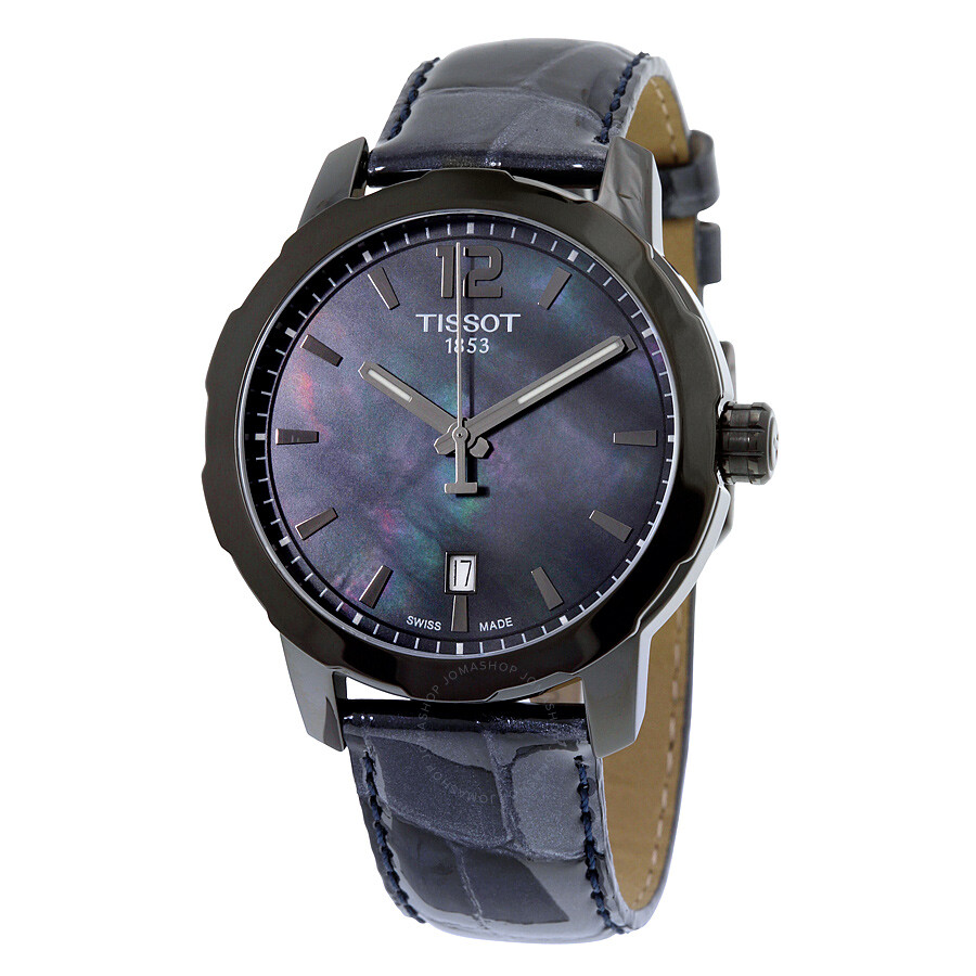 Tissot quickster black mother of pearl dial anthracite leather unisex watch t0954103612700 for Pearl watches