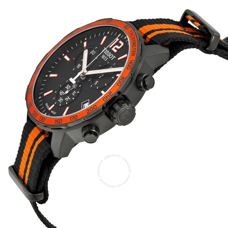 abfb3a89b ... Tissot Quickster Chronograph Black Dial Black and Orange Synthetic  Nylon Men's Sports Watch T0954173705700 ...
