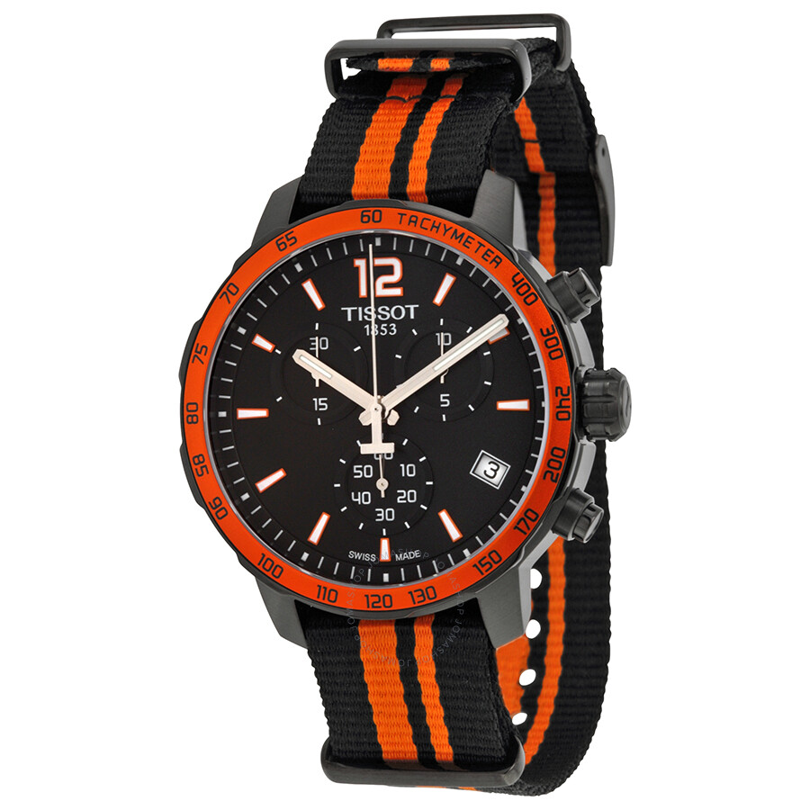 tissot quickster chronograph black black and orange