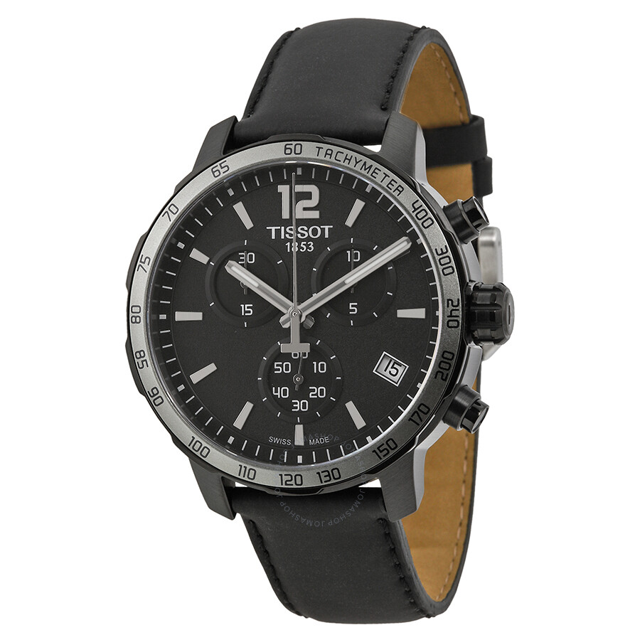 tissot quickster chronograph black black leather