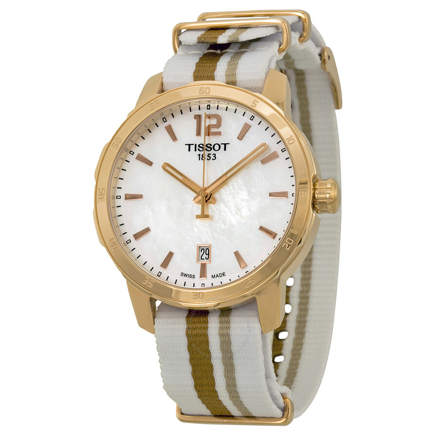 Tissot quickster mother of pearl dial striped nylon men 39 s watch t0954103711700 quickster t for Mother of pearl dial watch