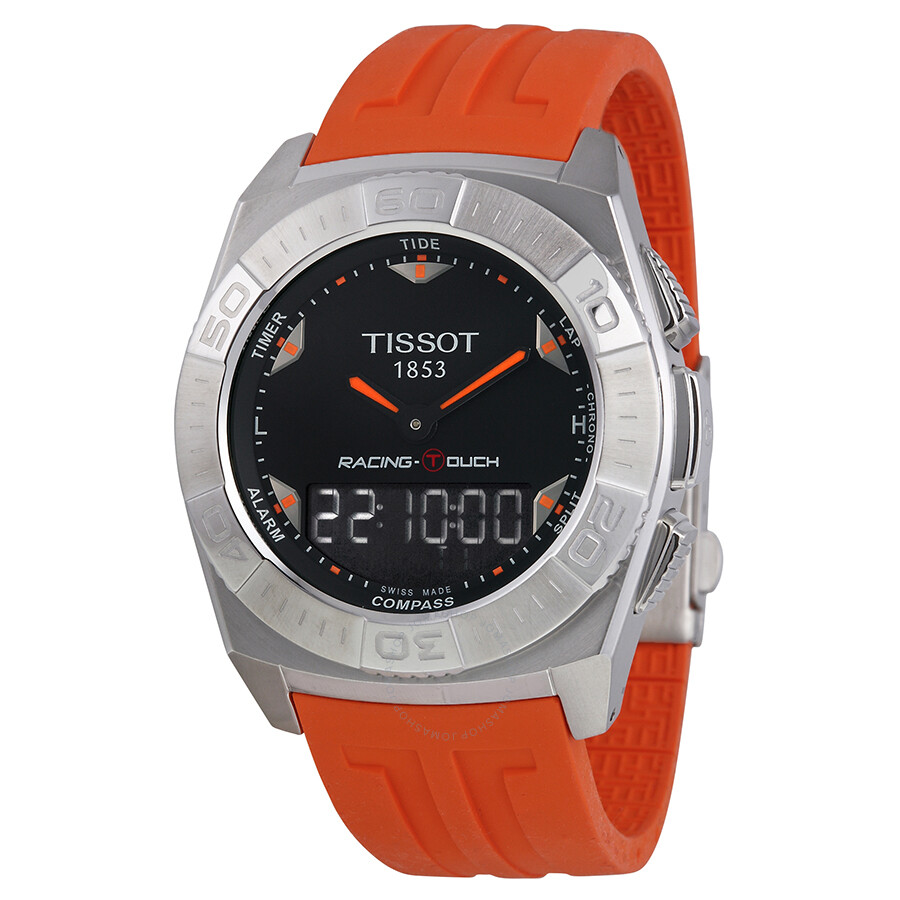 29d339e5937 Tissot Racing-Touch Black Dial Black Chronograph Orange Rubber Strap Men s  Watch T0025201705101 Item No. T002.520.17.051.01