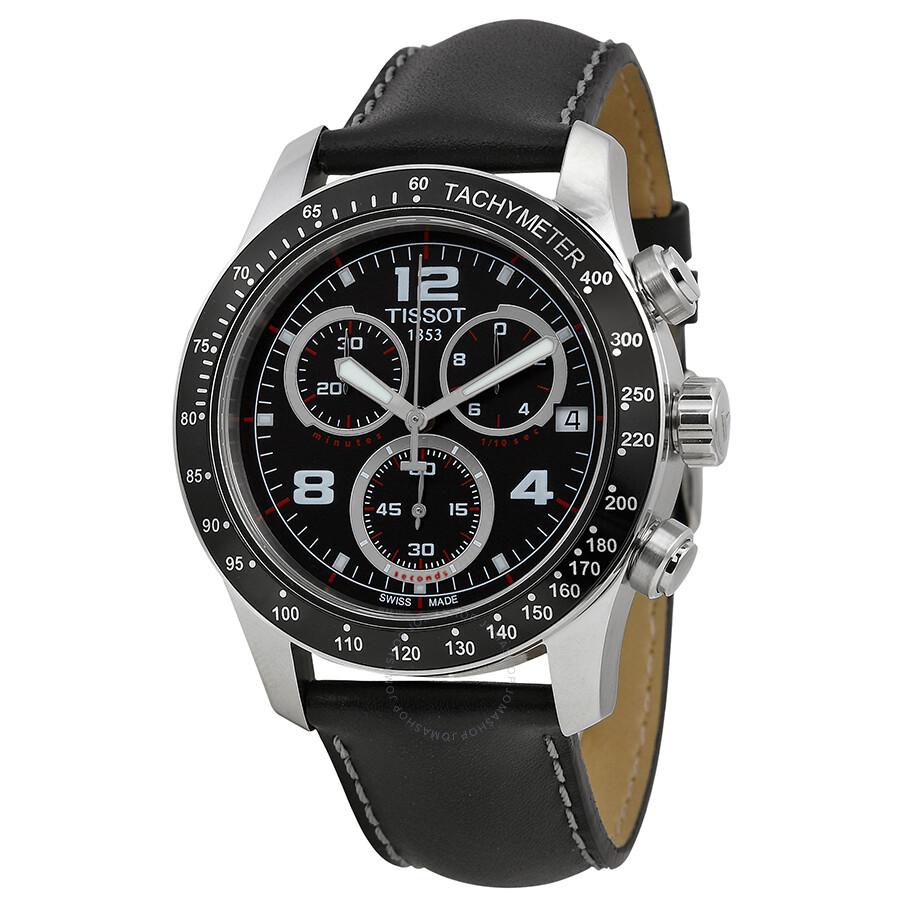 Tissot Sport V8 Black Dial Black Leather Men S Watch T039 417 16
