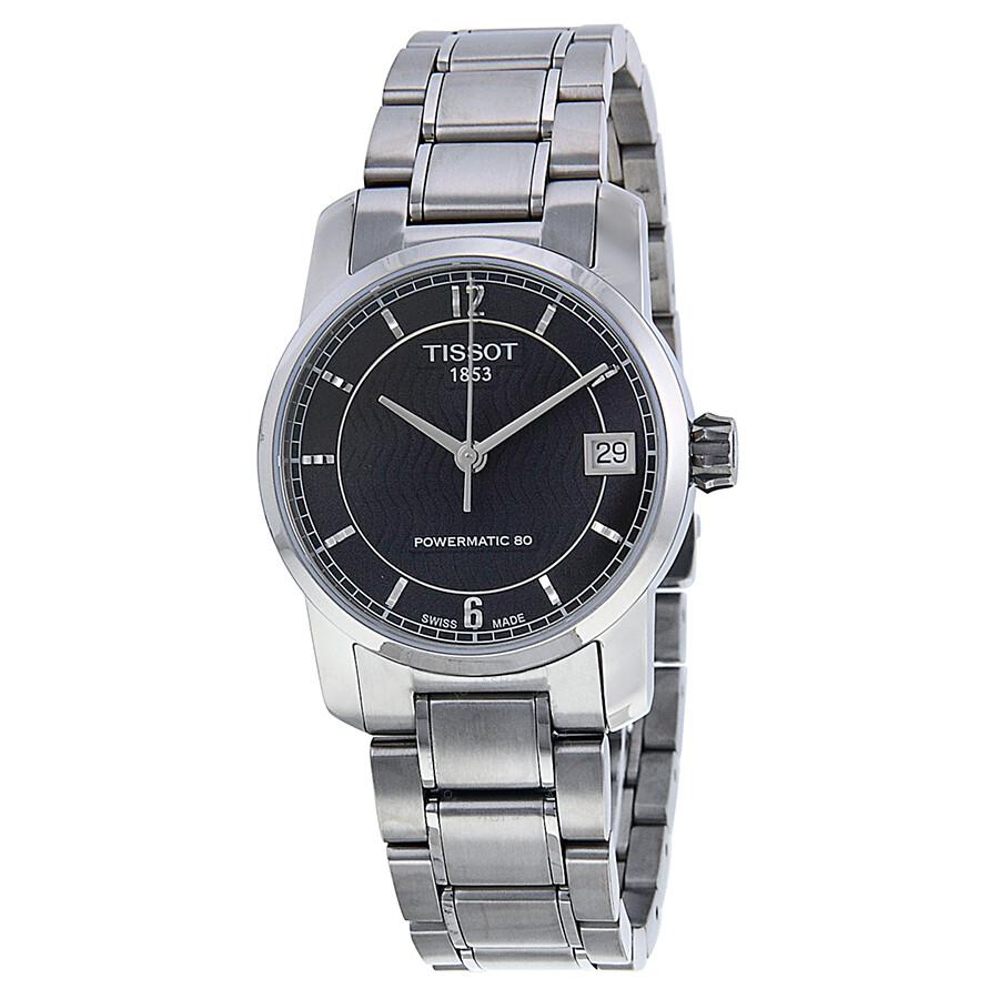 bc9dca8a0 Tissot T-Classic Automatic Black Dial Titanium Ladies Watch T0872074405700  ...