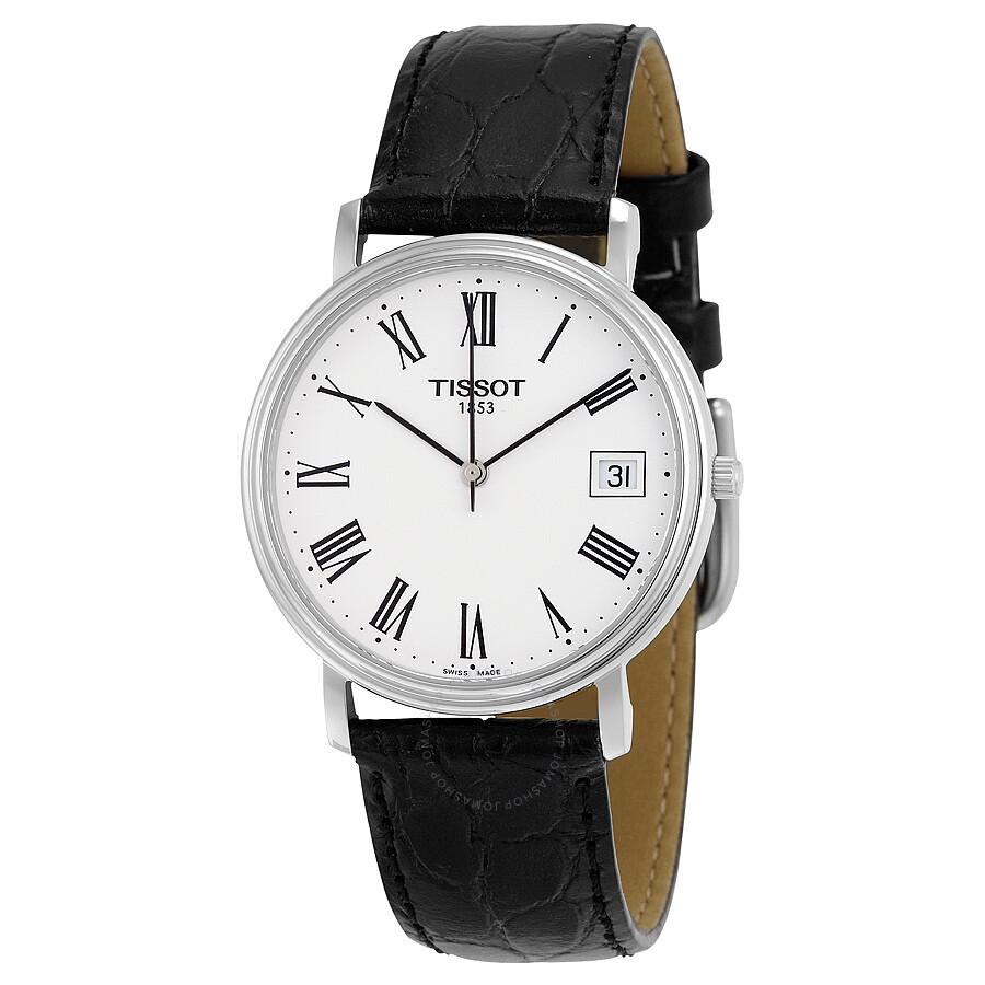 tissot t classic desire white black leather s