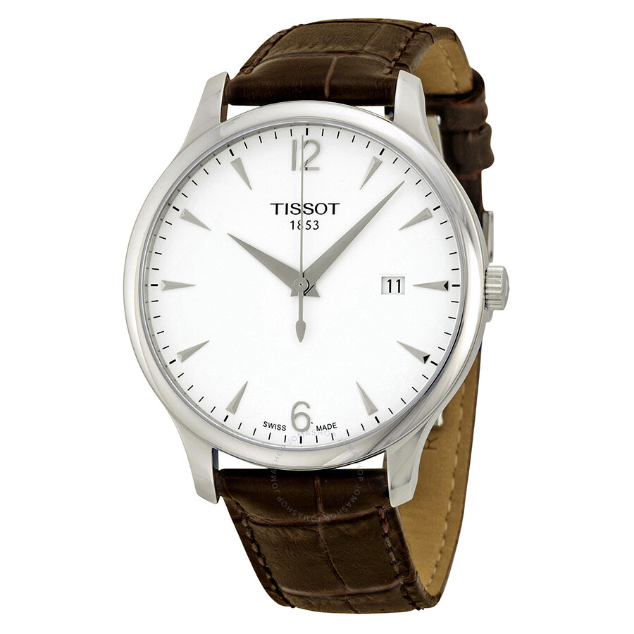 tissot t classic tradition silver dial brown leather men 39 s