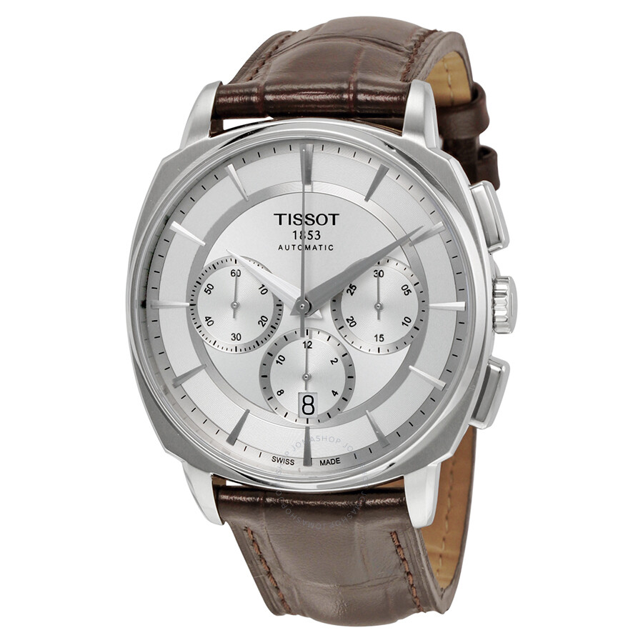 Tissot T-Lord Automatic Chronograph Silver Dial Brown