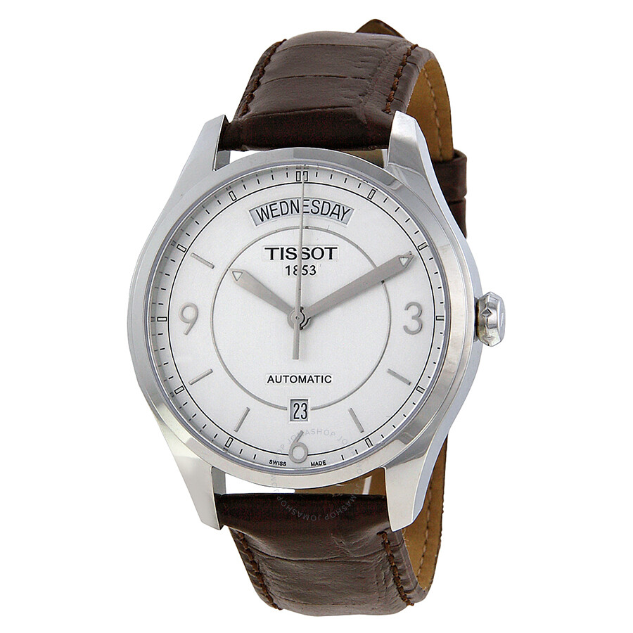 tissot t one automatic silver dial brown leather men 39 s watch t0384301603700 t one t classic. Black Bedroom Furniture Sets. Home Design Ideas