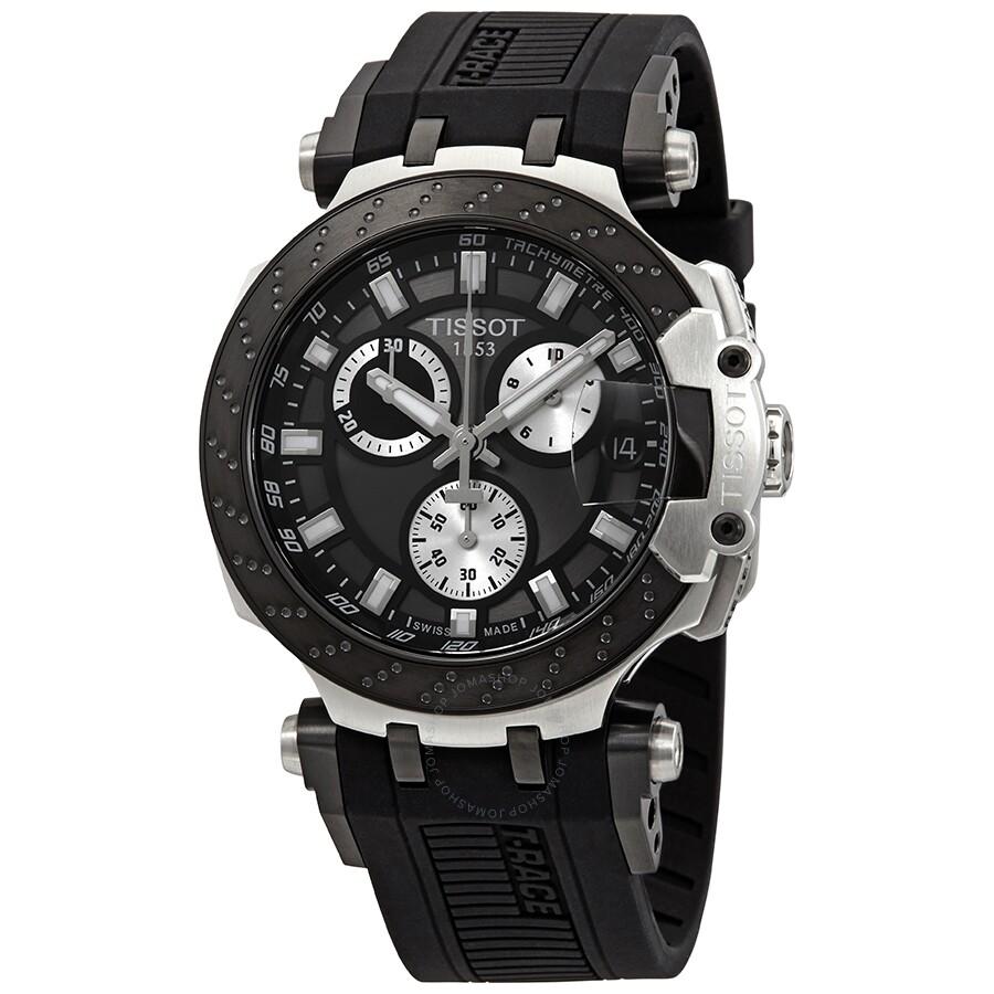 tissot t race chronograph quartz black dial men 39 s watch. Black Bedroom Furniture Sets. Home Design Ideas