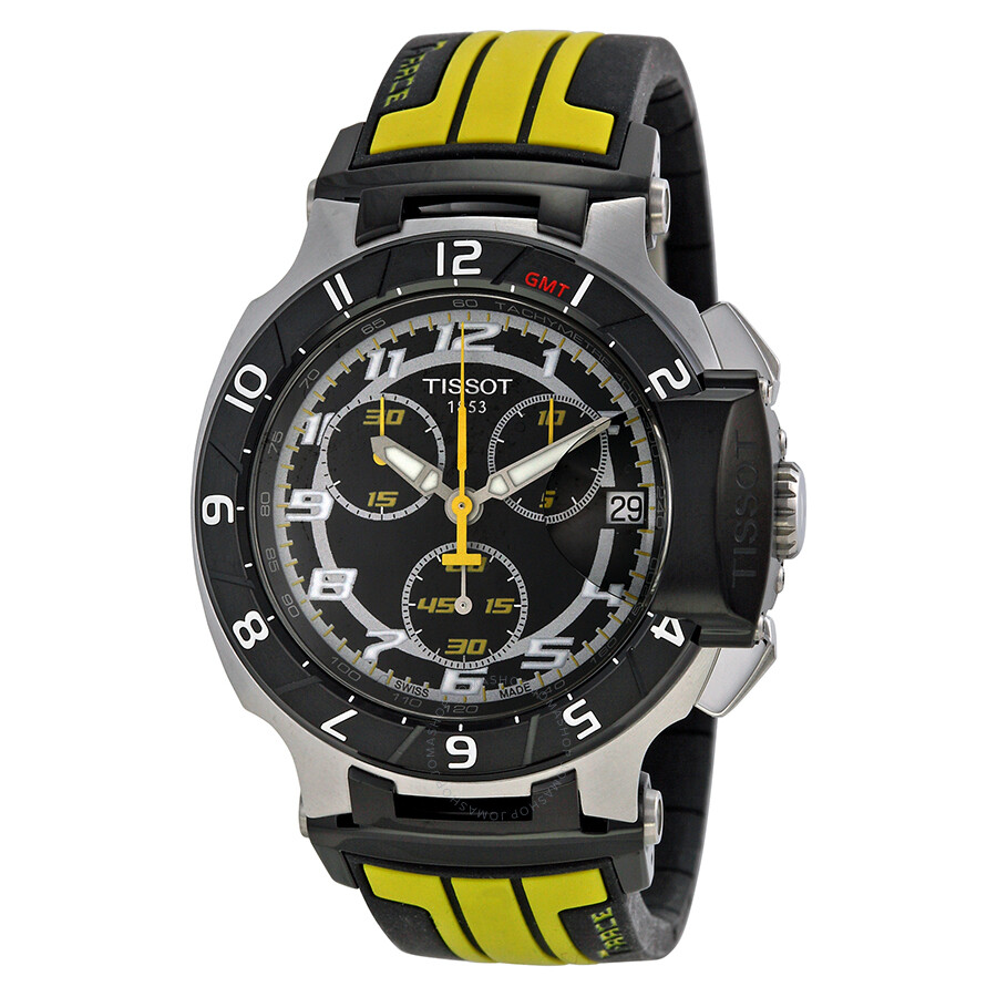 tissot t race chronograph black dial black and yellow. Black Bedroom Furniture Sets. Home Design Ideas