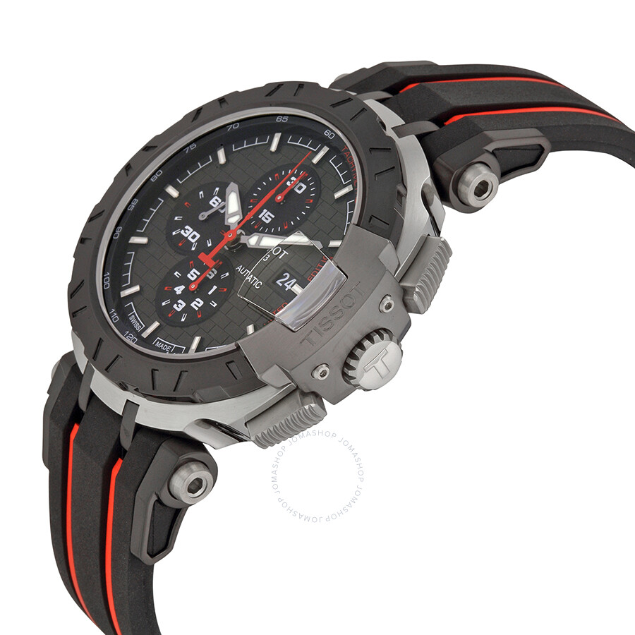 Tissot T-Race MotoGP 2015 Automatic Anthracite Dial Black and Red Rubber Band Men's Sports Watch ...