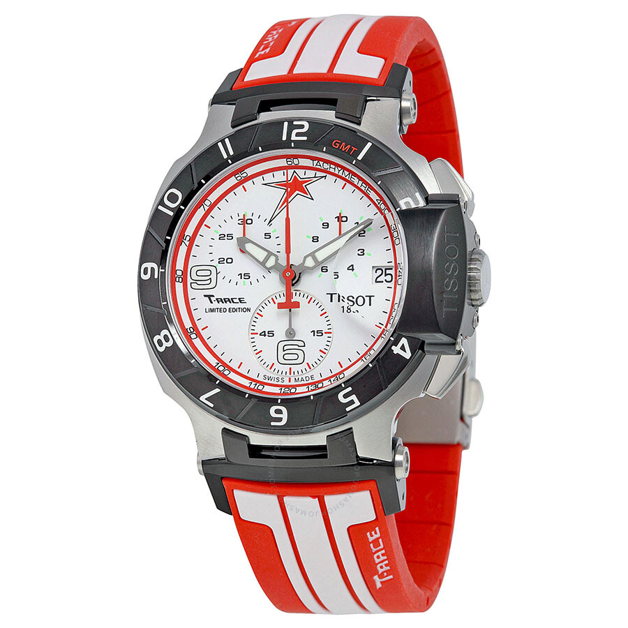 dc2ce386cd8 Tissot T-Race Nicky Hayden 2013 Limited Edition Chronograph White Dial Red  and White Rubber