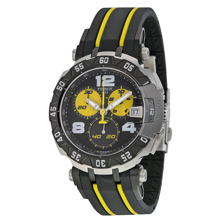 tissot t race thomas luthi 2015 black dial black and yellow rubber band men 39 s sports watch. Black Bedroom Furniture Sets. Home Design Ideas