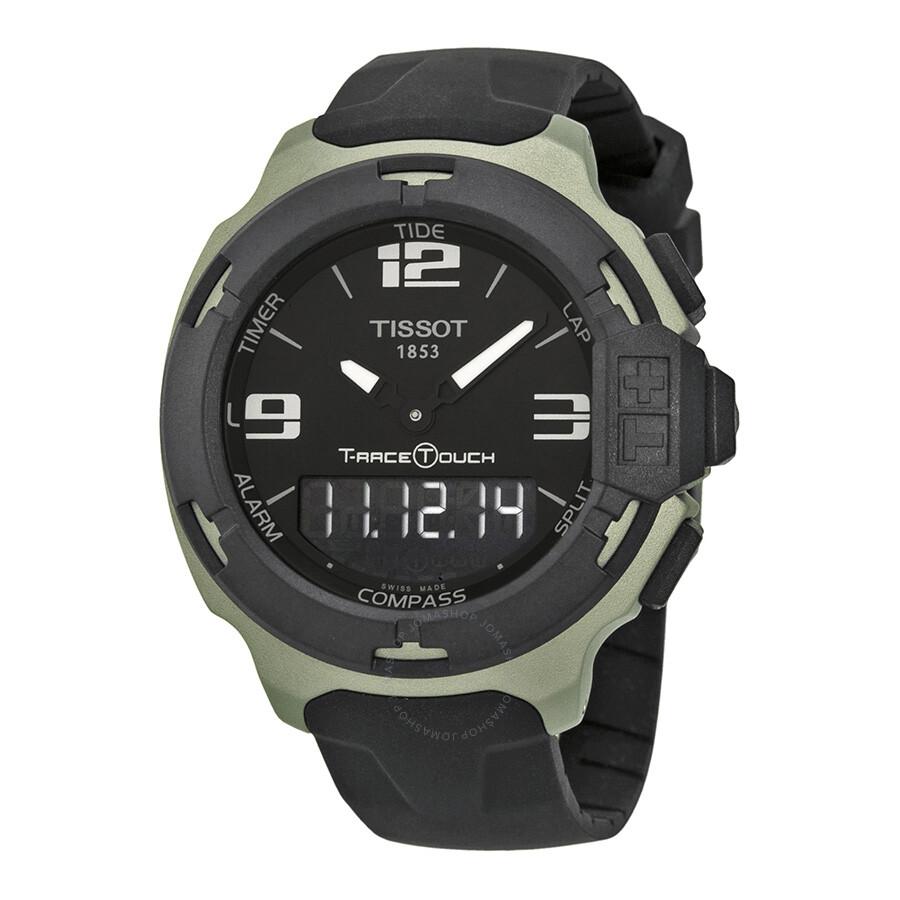 tissot t race touch black dial black rubber men 39 s watch. Black Bedroom Furniture Sets. Home Design Ideas