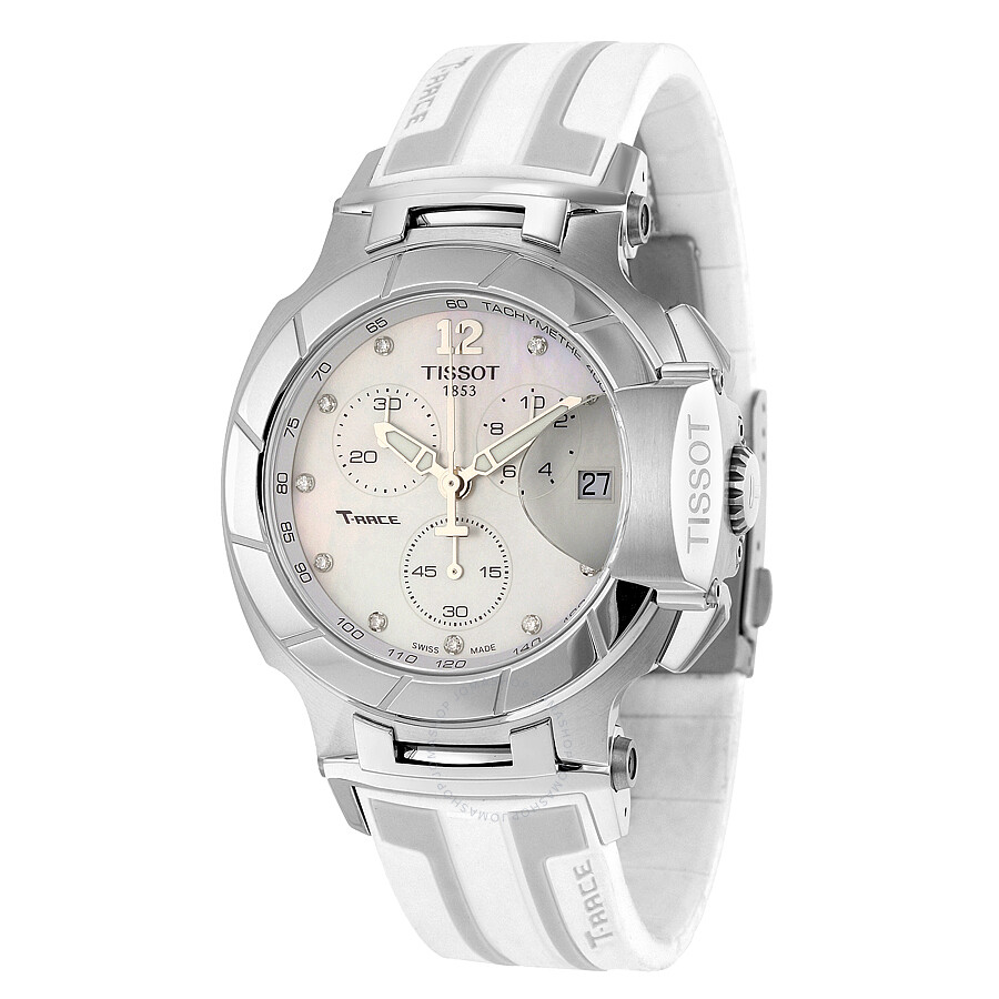 Tissot t race white mother of pearl dial white silicone men 39 s sports watch t0484171711600 t for Mother of pearl dial watch