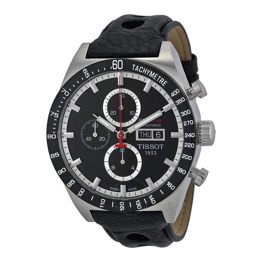 2124652f828 Tissot T-Sport PRS516 Automatic Chronograph Black Dial Black Leather Men s  Watch T044.614.26 ...