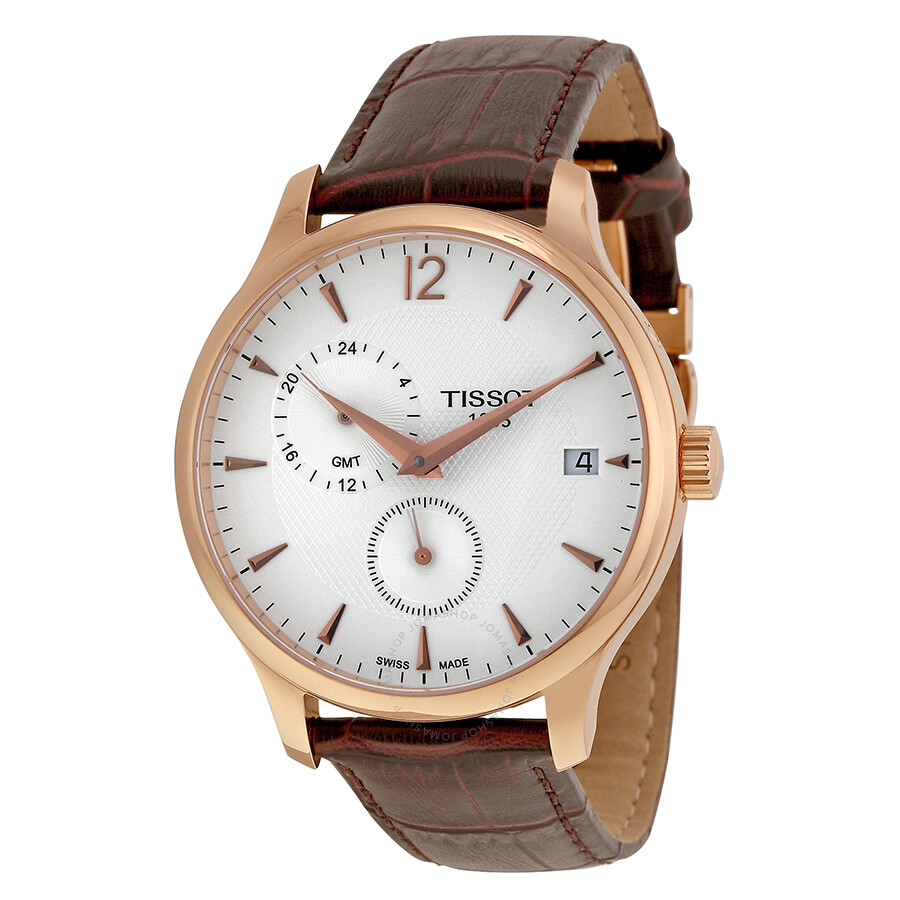 tissot tradition rose gold tone men s watch t0636393603700