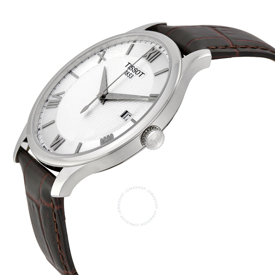 6195253207f ... Tissot Tradition Silver Dial Brown Leather Men s Watch  T063.610.16.038.00 ...