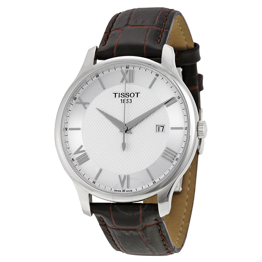 tissot tradition silver brown leather s