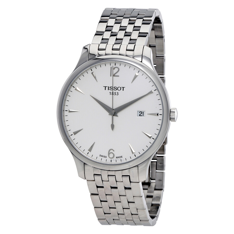 Tissot tradition silver dial stainless steel men 39 s watch t0636101103700 tradition t classic for Stainless steel watch