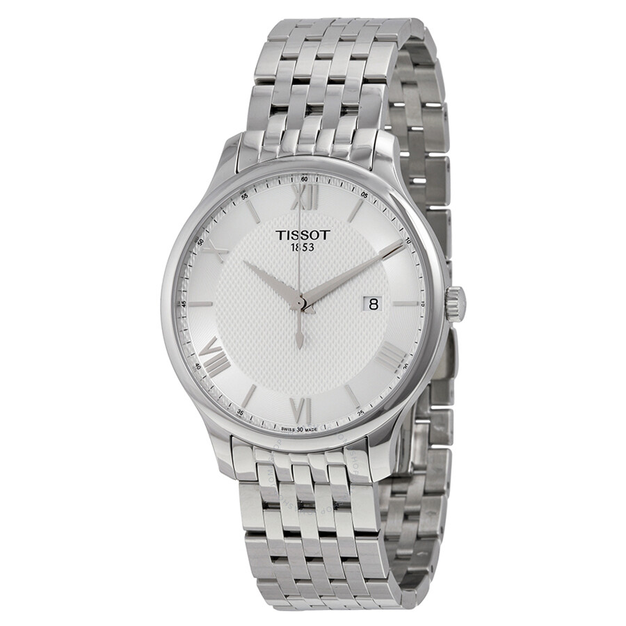티쏘시계 Tissot Tradition Silver Dial Stainless Steel Mens Watch T0636101103800