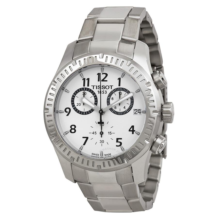 Tissot V8 Chronograph Silver Dial Men S Watch T0394171103700 V8