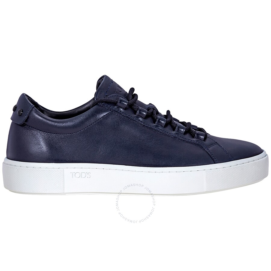 af03468405c7 Tod s Lace Up Leather Sneakers- Dark Blue XXM56A0V4307WRBL - Shoes ...