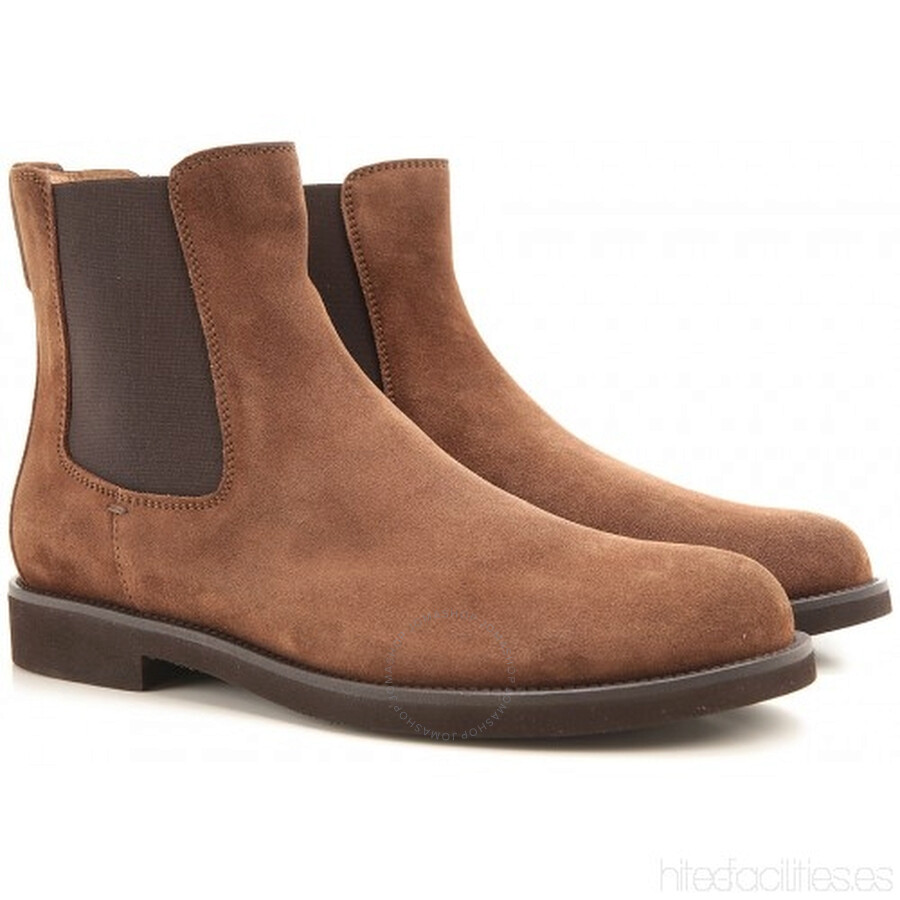 Tods Men's Suede Ankle Boots in Light Walnut