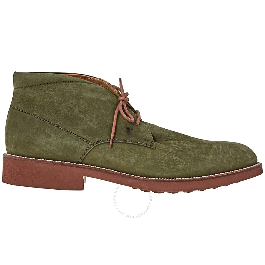 Tods Men's Military Green Suede Ankle Boots