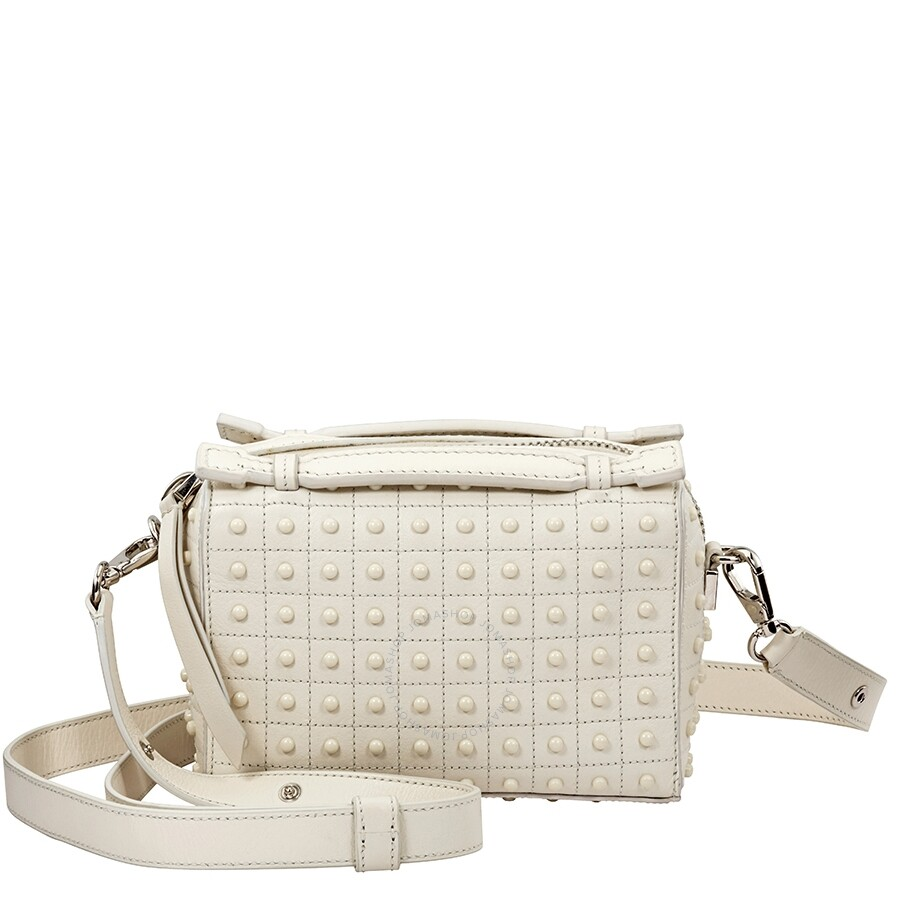 f72a024bc0 Tods Suede Crossbody Bag- White - Tods - Handbags - Jomashop