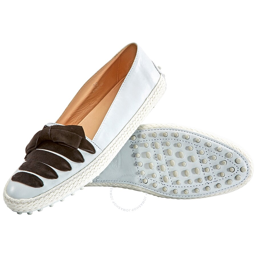 Tods Womens Leather Moccasins With Suede Ribbon In White