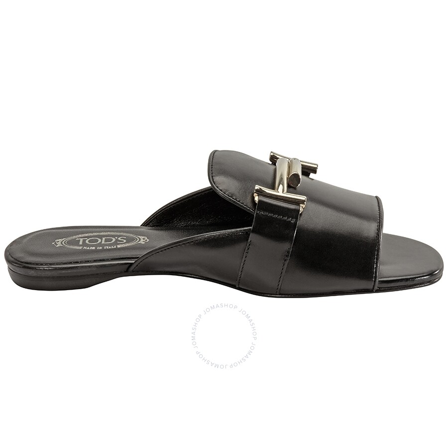 eb406e3a21060 Tods Womens Leather Slippers- Black,