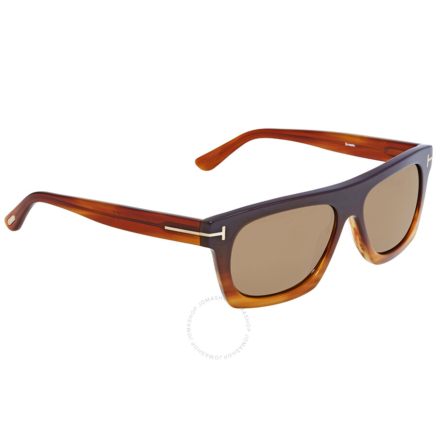 5d3c010fbe Tom Ford Brown Rectangular Sunglasses FT 0592 50E - Tom Ford ...