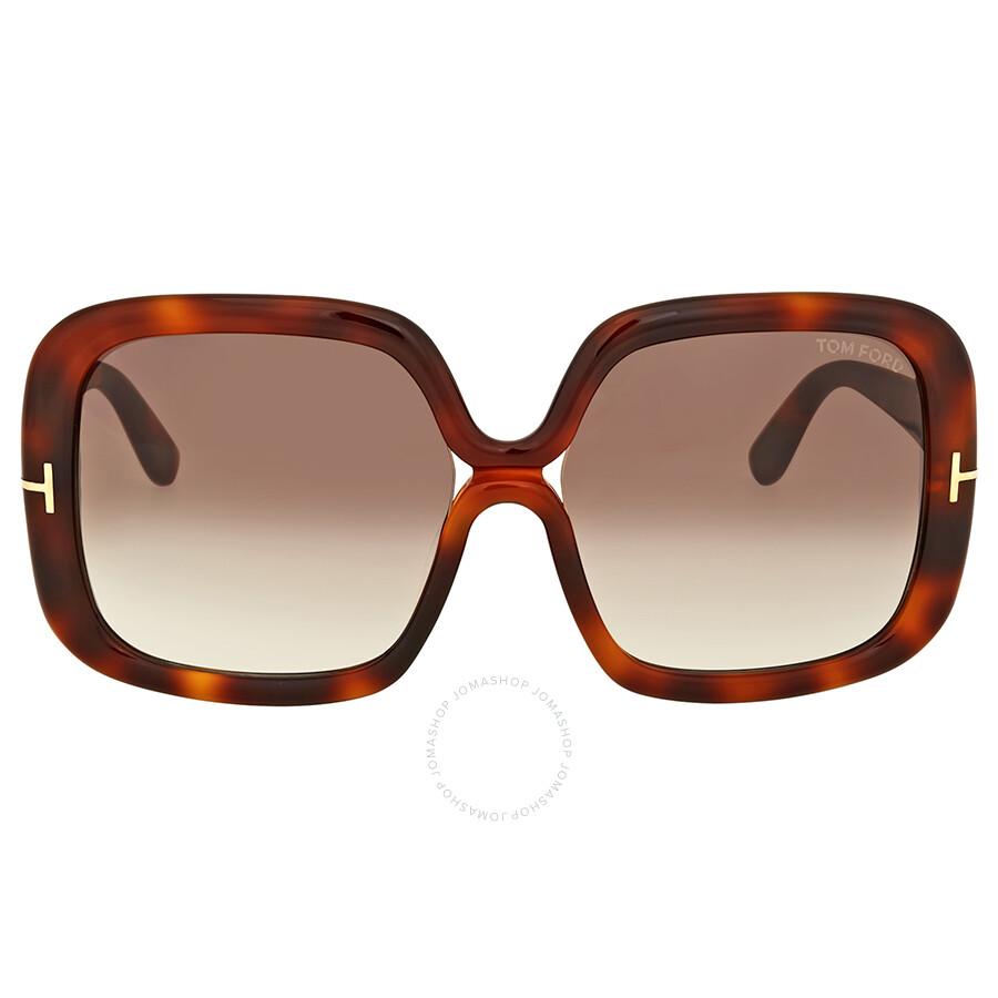 9d7f011c9d Tom Ford Valeria Brown Gradient Square Sunglasses Item No. FT0389 52F