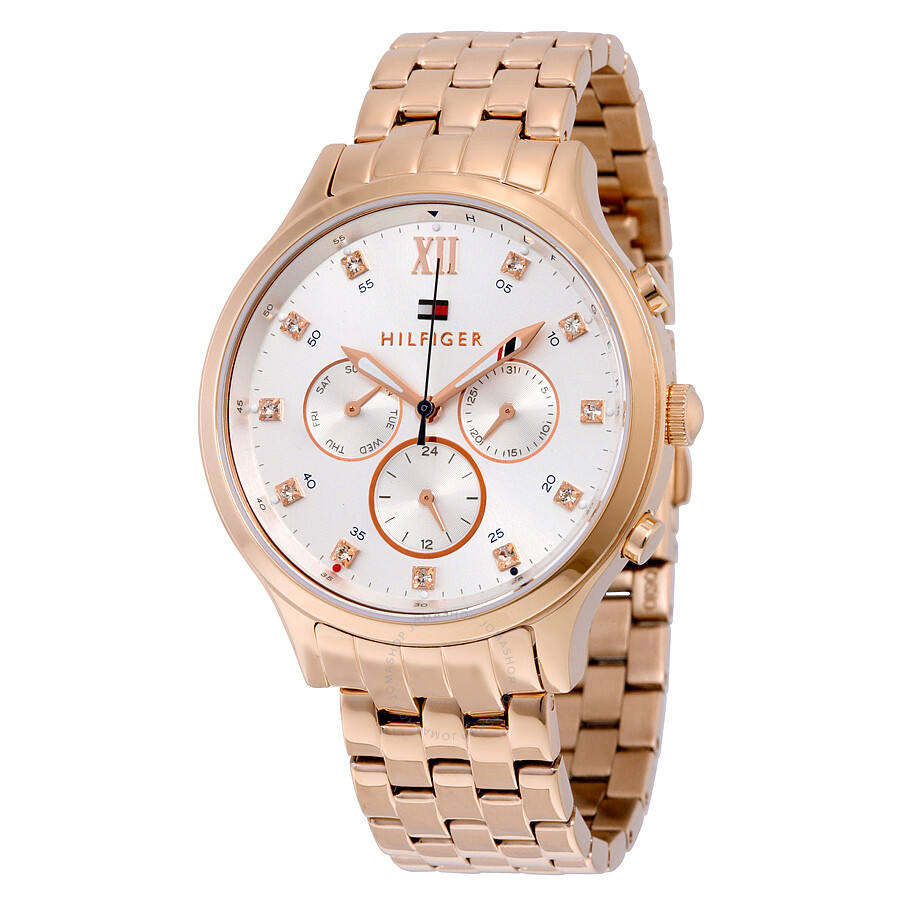 tommy hilfiger amelia multi function silver dial rose gold tone ladies watch 1781611 tommy. Black Bedroom Furniture Sets. Home Design Ideas