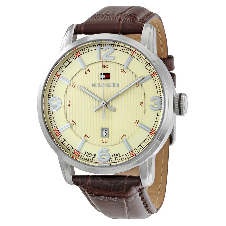 tommy hilfiger beige dial brown leather men 39 s watch. Black Bedroom Furniture Sets. Home Design Ideas