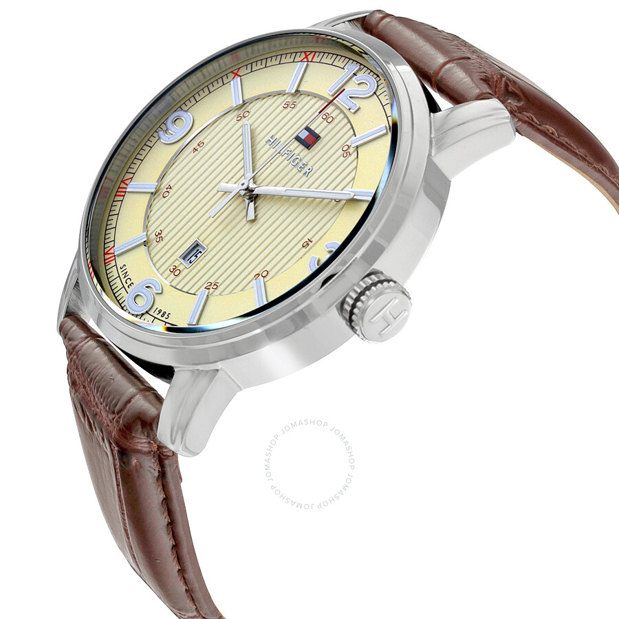 tommy hilfiger beige dial brown leather men 39 s watch tommy hilfiger watches jomashop. Black Bedroom Furniture Sets. Home Design Ideas