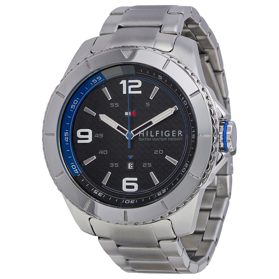 tommy hilfiger black carbon fiber dial stainless steel men s watch tommy hilfiger black carbon fiber dial stainless steel men s watch 1791002